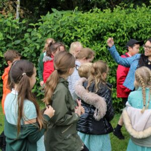 Priti Patel with Powers Hall Academy pupils during her tour of the school's grounds