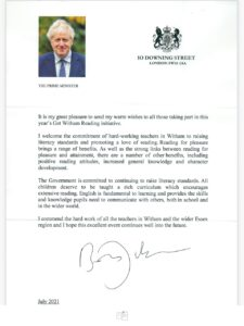 The letter from the Prime Minister in support of Get Witham Reading 2021
