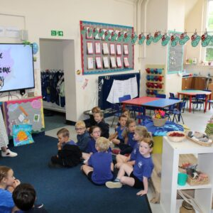 Priti visits a classroom at Terling C of E Primary School