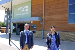 Priti Patel MP with Derrick Louis, Chairman of Provide, outside the new Crouch Vale Medical Centre in South Woodham Ferrers.